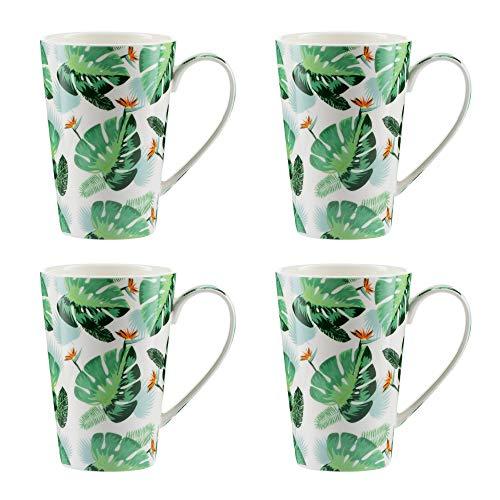 Jameson & Tailor – Set de 4 Mugs en porcelaine brillante, modèle « Jungle tropicale » - Tasses à thé ou café – Vert et Orange - Capacité 300ml - Résistants aux Lave-vaisselles et micro-ondes