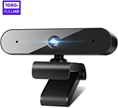 Webcam with Microphone for Desktop, HD Webcam 1080P Streaming Video Web Camera with Stereo Dual and 360-Degree Rotating Viewing Angle, USB Camera with Facial-Enhancement Technology (Black-Newest)