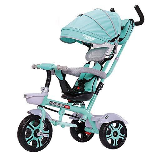 DBSCD Trikes pour Tout-Petits, Tricycle Parent Push pour Enfants, siège pivotant Convertible, Harnais de sécurité à 5 Points, bac de Rangement (Couleur: Vert)