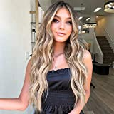 AISI QUEENS Long Wavy Wig Ombre Blonde Wigs for Women Synthetic Curly Hair Wigs Middle Part Heat Resistant Fibre for Daily Party Use