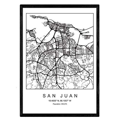 Lámina mapa de la ciudad San juan estilo nordico en blanco y negro. Poster tamaño A4 Sin marco Impreso papel 250 gr. Cuadros, láminas y posters para salon y dormitorio