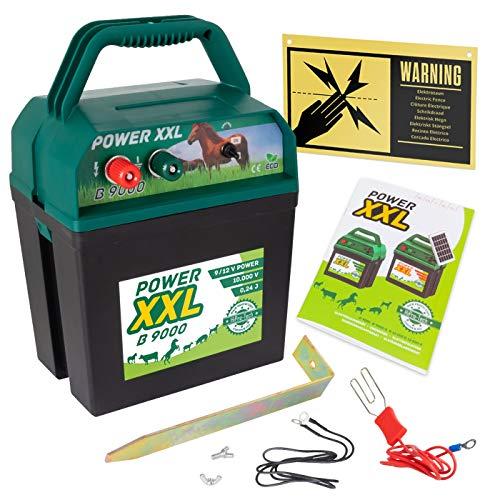 Power XXL B 9.000 Effektives Weidezaungerät 9V/12V Set inklusive internationalem Warnschild, Elektrozaungerät für einen sicheren Weidezaun, Pferd, Pony, Rind