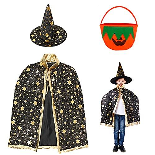 JIASHA Sombrero de Brujo de Halloween, Disfraz de Mago Capa de Bruja Capa de bruja para nios Capa de Bruja para Nia Con Sombrero, Bolsa de calabaza, Para Cosplay Fiesta (Negro)