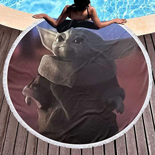 Baby Yo-Da Star-Wars - Toalla de playa de microfibra para baño/piscina/playa para mujeres/niños/hombre, secado rápido, compacto para baño de playa, redondo, diámetro de 132 cm