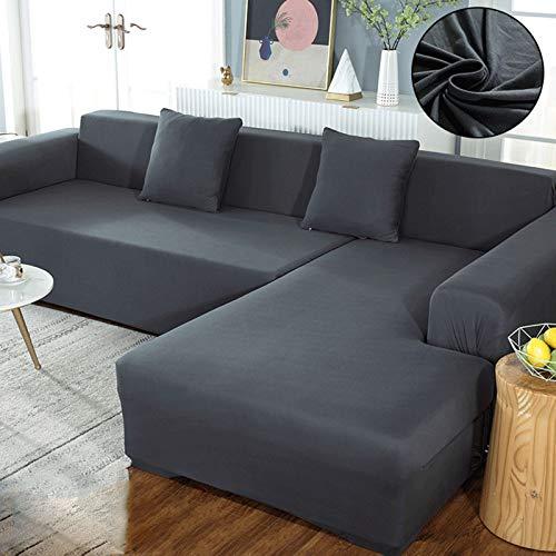 QSCV Universal Sofa überzug Für Wohnzimmer,L-Form Sofaschoner Strecke Sofabezug,Einfarbig Anti-Slip Couchbezug-Grau 3-Seater 190-230cm