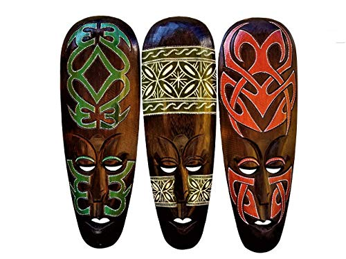 All Seas Imports Gorgeous Unique Hand Chiseled Set of (3) Wood African Style Wall Decor Masks with Beautiful Design!