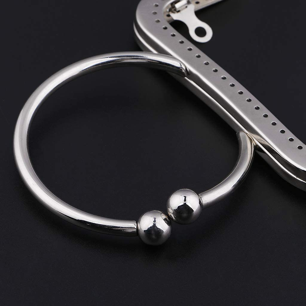 perfk Metal Purse Frame Circular Type Kiss Clasp Lock Handle for Women Handbag Making Silver as described
