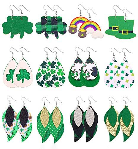 Sincahfy St Patricks Day Earrings For Women Teardrop Faux Leather Earrings Green Hat Rainbow Shamrock Earrings Drop Dangle Earrings St Patricks Day Jewelry 12 Pairs