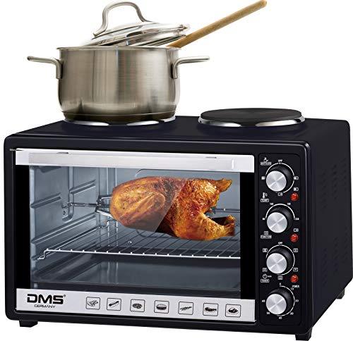 DMS 48 Liter Mini Backofen mit Kochplatten | 2 in 1 Küchengerät | 2000 W Pizzaofen mit Innenbeleuchtung | zwei Kochplatte mit 1000 W und 600 W | Drehspieß | Timer | stufenlos regulierbare Temperatur