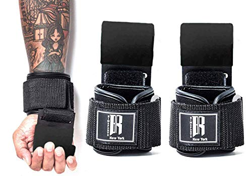 Weight Lifting Hooks Heavy Duty Lifting Wrist Straps for Pull ups Deadlift Straps for Power Lifting Lifting Grips with Padded Workout Straps for Weightlifting Ideal Gym Gloves for men and women
