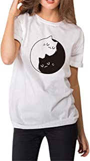 2019 New Women's Short-Sleeved Summer Tai Chi Cat Print T-Shirt O-Neck Blouse Tops by SADUORHAPPY