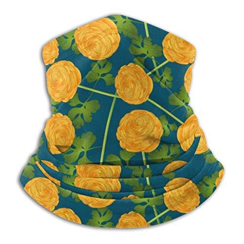 Dydan Tne Calentador de Cuello, Polaina, patrón de Flores Amarillas, Gorros de Microfibra Suave, Bufanda Facial, máscara para Clima frío de Invierno para Hombres y Mujeres NCK-588