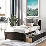 Twin Size Platform Bed Frame with 2 Storage Drawers Solid Wood Bed Frame with Headboard Wood Slat Support and No Box Spring Needed Easily Assembly (Espresso)