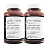 Double Strength Turmeric - Massive 1000mg x 360 tablets (pack of 2 bottles of 180 tablets) - 200% more Turmeric and natural levels of the potent Curcumin per tablet - AND 5mg black pepper extract for 300% increased absorption. SKU: TURMx2 from Pureclinica