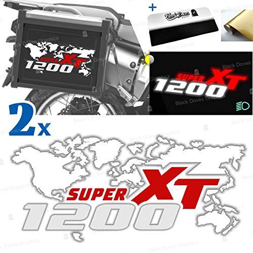 2 adhesivos compatibles con maletas laterales para XT 1200 Z Super Tenere para maletas originales y Touratech All y Givi Trekker Outback (blanco-rojo)