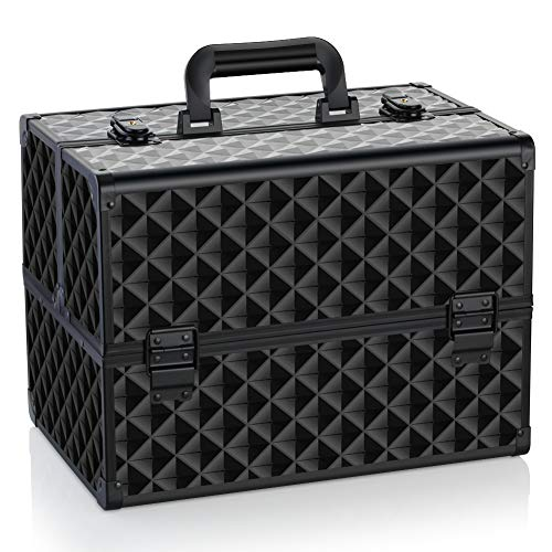 of makeup case professionals OUDMAY by Amazon - Makeup Case - Professional Portable Aluminum Cosmetics Storage Box With Locks and Folding Trays Black