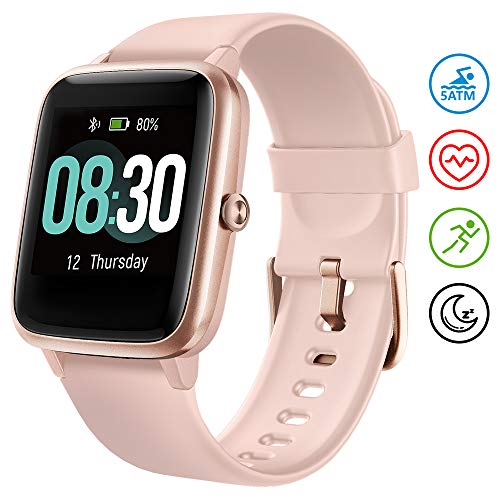 UMIDIGI Smartwatch Fitness Tracker Uwatch3, Armbanduhr Sportuhr Smart Watch für Damen Herren Kinder mit Herzfrequenz Schlaftracker 5 ATM Wasserdicht Kompatibel mit Android und IOS,Rosa-Gold
