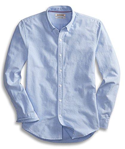 Goodthreads Camisa Oxford de Manga Larga para Hombre, Ajustada, Azul, Large