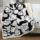 Sleepwish Panda Plush Blanket Cartoon Animal Fleece Throw Blanket Cute Fuzzy Panda Bears Blanket for Kids Girls Adults Soft Warm Fuzzy Blankets Black and White Christmas Panda Gifts (50x60 Inches)