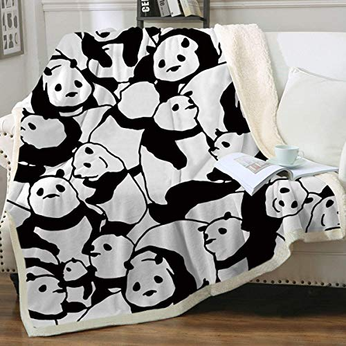 Sleepwish Panda Plush Blanket Cartoon Animal Fleece Throw Blanket Cute Fuzzy Panda Bears Blanket for Kids Girls Adults Soft Warm Fuzzy Blankets Black and White Christmas Panda Gifts (50x60 Inches)