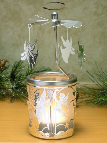 BANBERRY DESIGNS Spinning Candle - Silver Angel Charms Spin Around This Frosted Glass Scandinavian Design Candle Holder - Rotary Candle Holder - Carousel Candles
