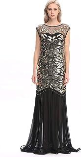 Wuchieal Women 's 1920s Sequin Gatsby Maxi Long Evening Prom Dress 3 Colors