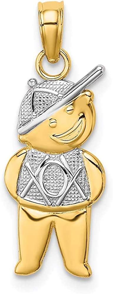 14k Yellow Gold with Super beauty product Denver Mall restock quality top Rhodium Charm Pendant Textured Boy