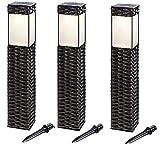 BUVTEC '3er Set' LED Solar Standleuchtenset Rattan 3500 K