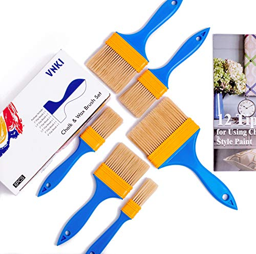 Chalk & Wax Paint Brush for Furniture - VNKI 6PCS Paint Brushes for Painting and Refinishing (1,1.5,2,2.5,3,4in