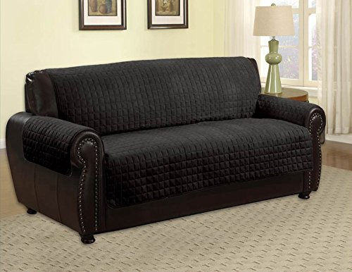 Quilted Microfiber Pet Dog Couch Sofa Furniture Protector Cover, Kashi,  (Sofa, Black)