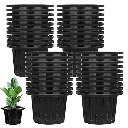 Jucoan 40 Pack 4 Inch Net Pots, Garden Slotted Mesh Net Cups, Plastic Plant Nursery Baskets Buckets with Wide Lip for Aquaponics, Hydroponics