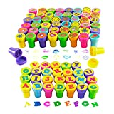 Super Z Outlet 76 Pieces Assorted Colorful Stamps for Kids Full Alphabet Letters and Happy Face, Flower, Hearts Self-Ink Stamp Set for Party Favors, Classroom Teachers, Holiday Stuffers