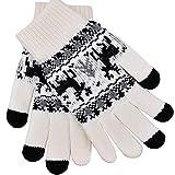 iEverest Gants d'amant de Noël Gants Tactiles Unisexe Gants Tactiles Hiver/Automne Gants Tactiles Gants Tricotés pour Téléphone/iPhone/Samsung/Tablette/Ipad/Autres Smartphone (Blanc)