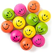 """Be Happy! Neon Colored Smile Funny Face Stress Ball - Happy Smile Face Squishies Toys Stress Balls Bulk Pack of 12 Relaxable 2.5"""" Stress Relief Smile Squeeze Balls Fun Toys"""