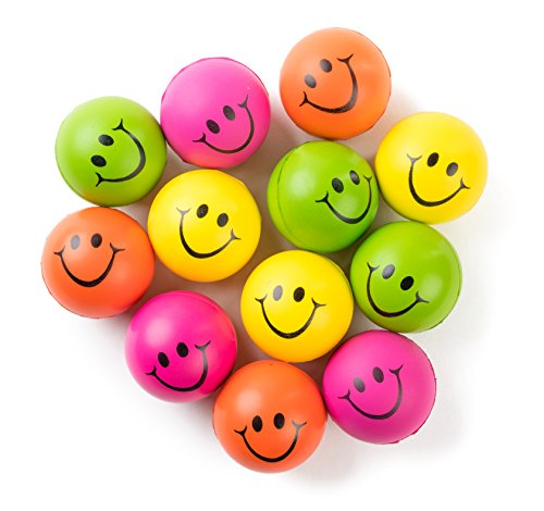 """Be Happy! Neon Colored Smile Funny Face Stress Ball - Happy Smile Face Squishies Toys Stress Foam Balls for Soft Play - Bulk Pack of 12 Relaxable 2.5"""" Stress Relief Smile Squeeze Balls Fun Toys"""
