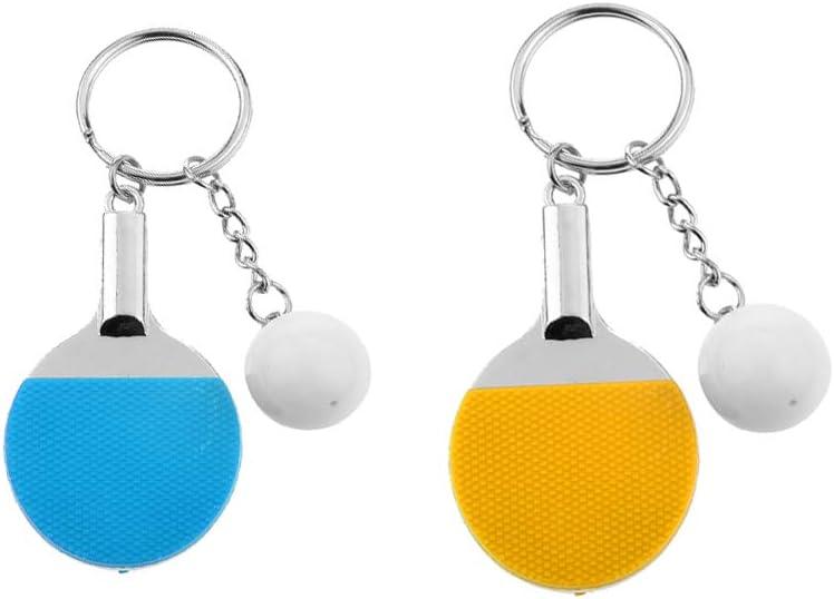 Baoblaze 2X Lindo Tenis De Mesa Raqueta Ping Pong Paleta Murciélago Colgante Llavero A + C Colores