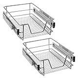 UISEBRT 2x Cajón de cocina Cajón telescópico 40cm - Armario extraíble de cocina (40cm)