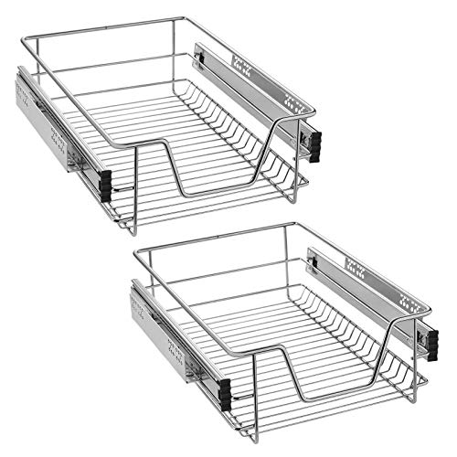 LZQ Cajón telescópico bandeja de metal extraíble 40cm organizador interior almacenaje para cocina baño armario taller (2 x 40 cm)