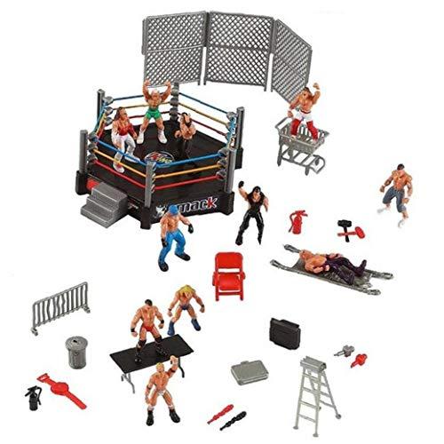 Hotaden 1pc Wrestler Atleta Wrestling Figura Gladiatore Modello Set con Combattere Stazione Gabbia Montata Battaglia Giocattolo Gioco per Ragazzi