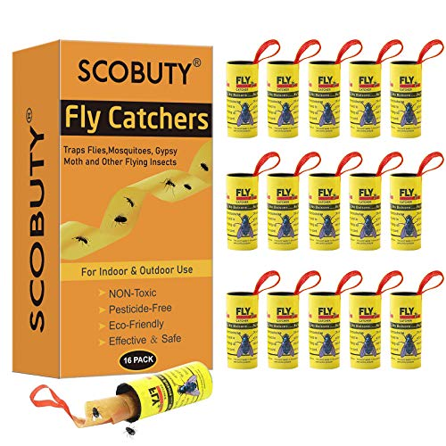SCOBUTY Trampa para Moscas, Atrapa Insectos, 16 Rollos Atrapamoscas y Mosquitos Exterior Interior para Invernadero Jardin