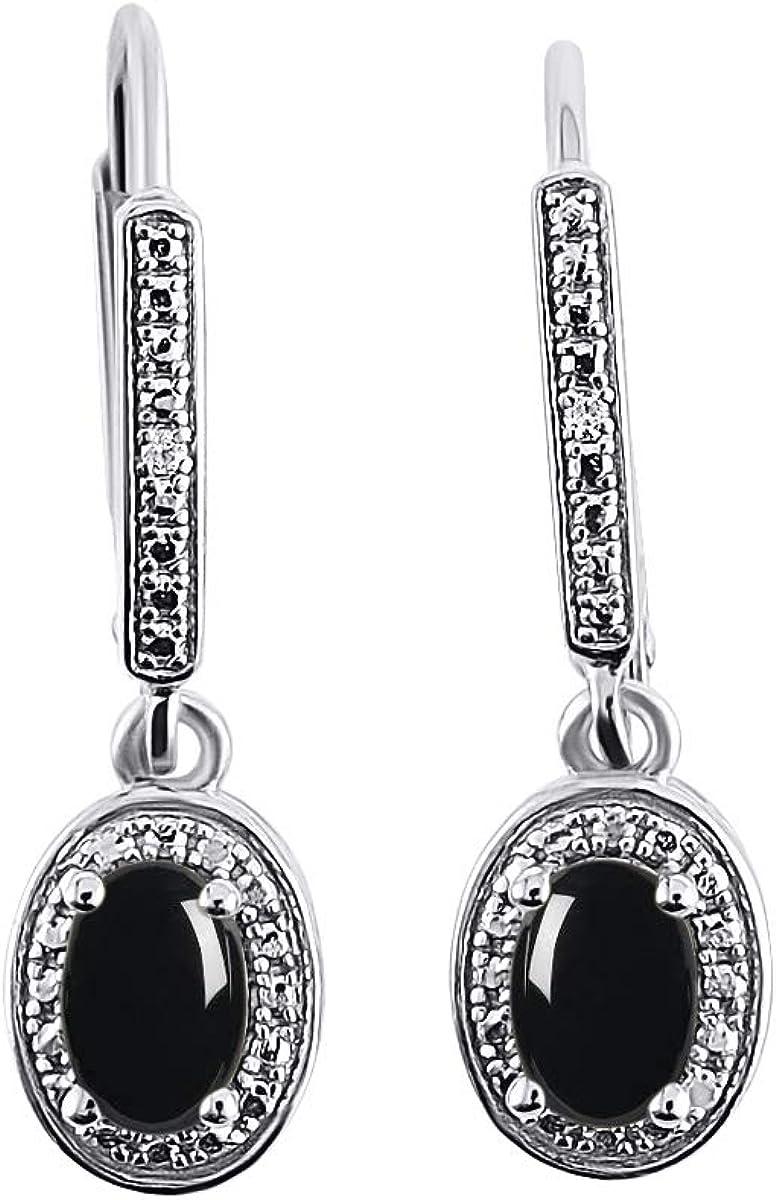 RYLOS Earrings Rapid rise For Women Luxury 14K White Gold Diamond Cabochone Bl -