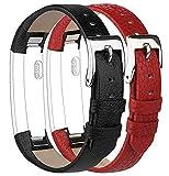 Tobfit Bracelets Compatible avec Fitbit Alta de Replacement Cuir Bracelets (2 Pack) Fitbit Alta HR...