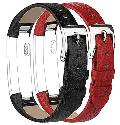 Tobfit Kompatibel mit Fitbit Alta Armband Fitbit Alta HR Armband (2 Pack) Lederarmband Edelstahl...