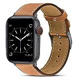 BRG コンパチブル Apple Watch バンド 本革 ビジネススタイル コンパチブル アップルウォッチバンド コンパチブル Apple Watch 6/5/4/3/2/1/SE(42mm/44mm,ブラウン/スペースグレー)