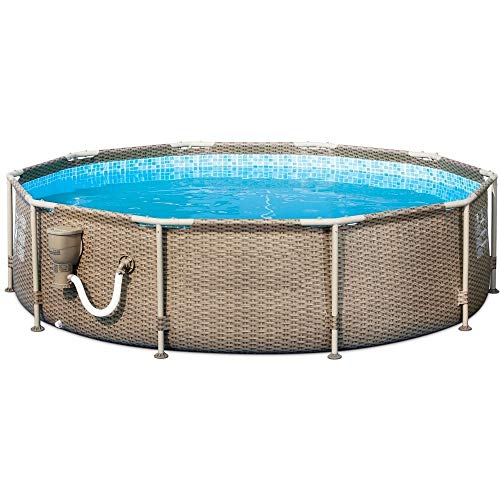 Above Ground Pool with Pump 10 Foot Round Swimming Pool Durable Filter Pump Galvanized Metal Frame Best Above Ground Pool Summer for Kids and Adults Swim Center Easy Setup Tan & eBook by NAKSHOP