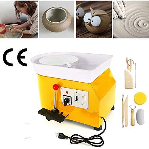 InLoveArts Töpferscheibe Mit Festem Pedal Formmaschine 25CM Elektrische Töpferscheibe DIY-Maschine für Keramikarbeiten Kunsthandwerk aus Ton 350W Gelb