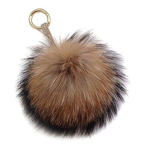 6' Large Genuine Fur Pom Pom Keychain Puffy Ball Car Keyring/Bag Purse Charm (Natural Brown)