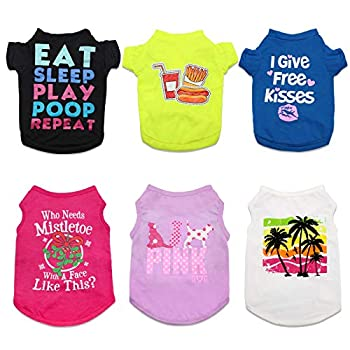 HYLYUN Printed Puppy Shirt 6 Packs - Soft Breathable Pet T-Shirt Puppy Dog Clothes Soft Sweatshirt for Small Dogs and Cats XS