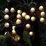 ABTSICA LED Cadena De Luz Solar Al Aire Libre Mini Cadena De Luz De Hongo 8 Modos Jardín Patio Patio Paisaje Fiesta Césped Camino Boda Hogar Vacaciones De Navidad,Warm White,5m 20 Lights