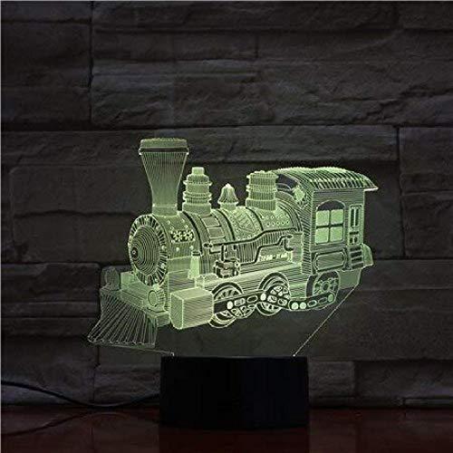 La novedad de iluminación 3D ilusión LED lámpara modelo tren luces de noche para dormitorio de los niños decoración creativa lámparas de regalo 9 con control remoto control remoto regalo